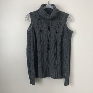 AEO turtleneck cold shoulder cable knit sweater